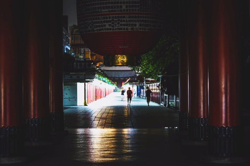 senso-ji approach Architecture Full Length Built Structure Real People Architectural Column Indoors  Lifestyles The Way Forward Women Two People Day Men People Adult Discoverjapan Japan Nightshooters Beautiful Midnight