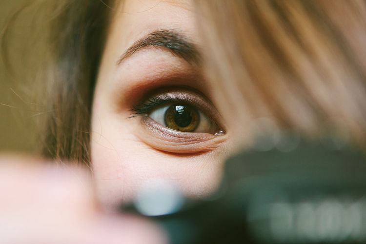The eye behind the camera Camera Adult Blond Hair Body Part Close Up Close-up Depression - Sadness Emotion Eye Eyeball Eyebrow Females Hair Headshot Human Body Part Human Eye Human Face Human Hair Looking Looking At Camera One Person Portrait Selective Focus Teenager Women