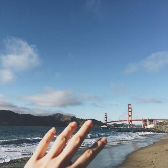 Come Here Golden Gate Bridge Tourist San Francisco The Bay Bridge Hand