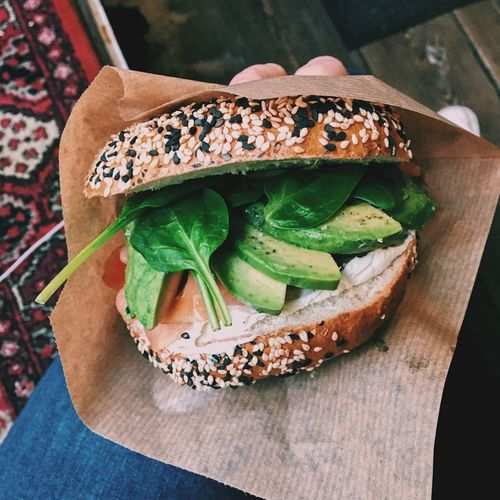 Breakfast Avocado Bagels Superfood Food Food And Drink Freshness Hand Holding Healthy Eating Vegetable Ready-to-eat Sandwich