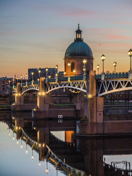 Architecture Dome City Illuminated Reflection Built Structure Water Travel Destinations No People Sunset Outdoors Cityscape Sky Night France🇫🇷 France Toulouse Toulouse France Toulousephotographer