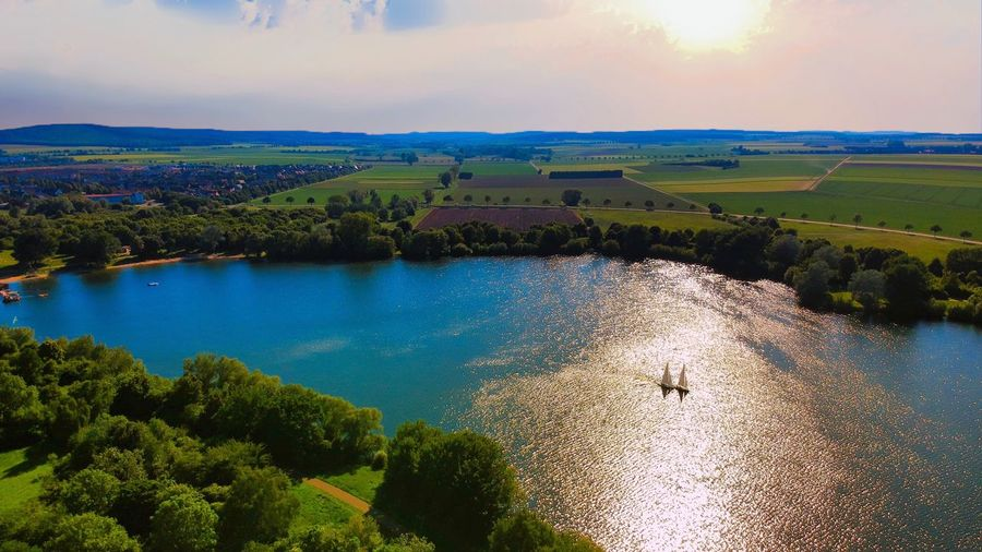 Salzgittersee Sailing Boats Niedersachsen Salzgittersee See Dji Beauty In Nature Water Scenics - Nature Tranquil Scene Tranquility Tree Sky Cloud - Sky Nature Landscape