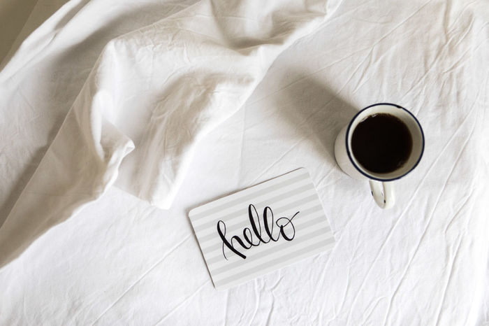 Bed Coffee Desk Hello World Memories Plants Work Working Writing Abstract Handlettering Minimalism Monsteria Simple Simplicity Stationary Summer Template White Background Workspace