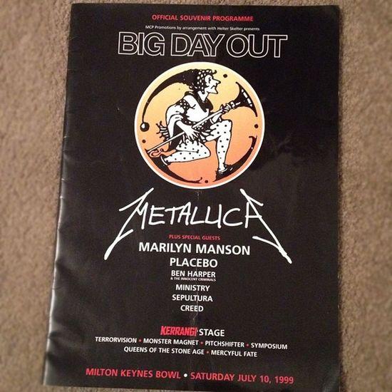 Omg found my Bigdayout Program Miltonkeynes Bowl July10 1999 Greatest Gig I've been to Metallica MarilynManson Placebo BenHarper Sepultura QOTSA Creed music metal rock ?