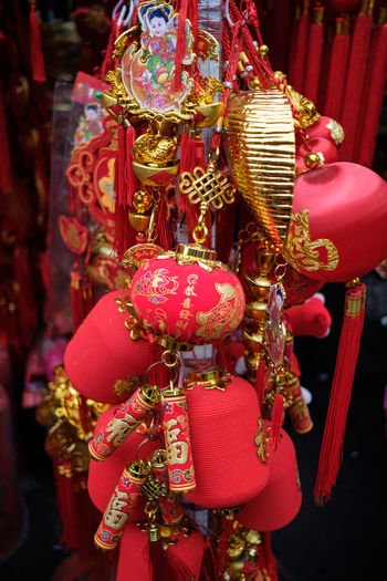 stuffs for chinese new year Chinese Tradition Chinese Traditional Style Chinese Traditional Culture Art Art And Craft Celebration Chinese New Year Close-up Day Decoration Focus On Foreground Gold Colored Hanging Indoors  Multi Colored No People Red