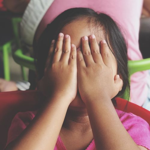 Shy Girl Kids Being Kids Shy Shygirl Real People One Person Childhood Child Lifestyles Indoors  Human Body Part Hand Covering Innocence Hands Covering Eyes Obscured Face