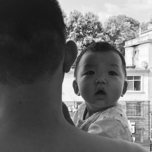 Baby Childhood Real People Innocence Family Togetherness Cute Family With One Child Father Love Boys Lifestyles Care Headshot Close-up Blackandwhite The Week On EyeEm Black And White Monochrome Black