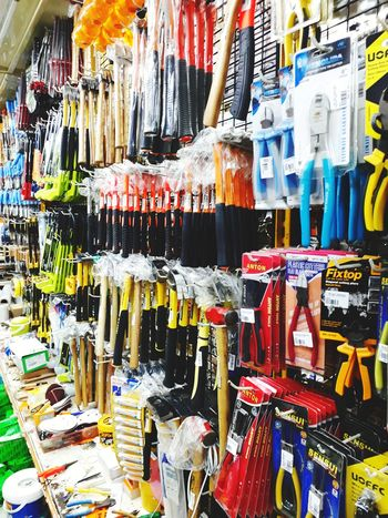 hardware shop Multi Colored Choice Full Frame For Sale Text Close-up Display Colorful Price Tag Raw Collection Variety Retail Display