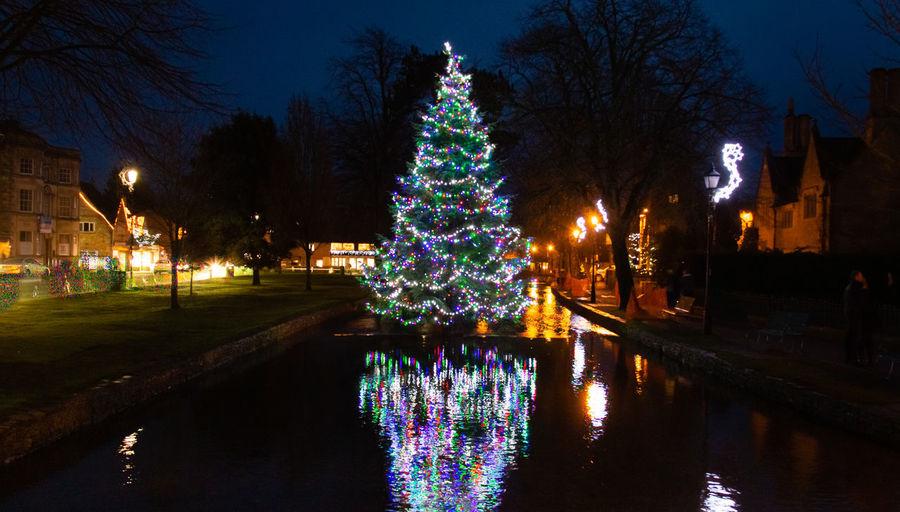 christmas tree Reflection Illuminated Night Christmas Christmas Decoration Water Outdoors Cotswolds