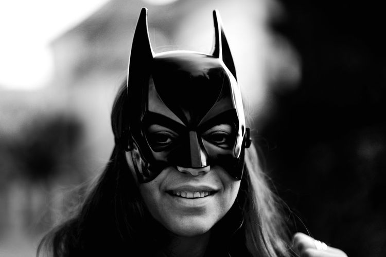 Adult Art Is Everywhere Batgirl Batwoman Close-up Day DC Comics Disguise EyeEm Diversity Focus On Foreground Front View Happiness Headshot Leisure Activity Looking At Camera Marvel One Person Outdoors People Portrait Real People Smiling Young Adult