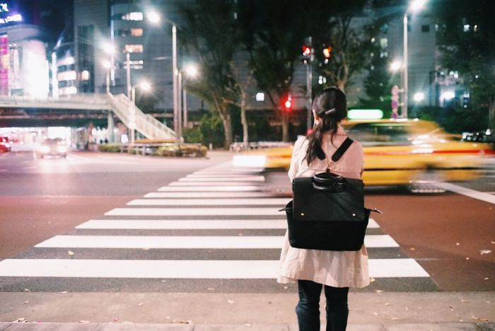 Tokyo Night Street Real People Rear View City A Night Shot Appearance From Behind