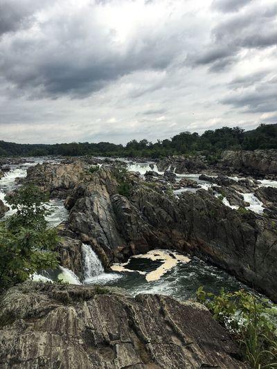 Great Falls Virginia Great Falls Nature Waterfalls Water Waterfall Rocks Cloudy