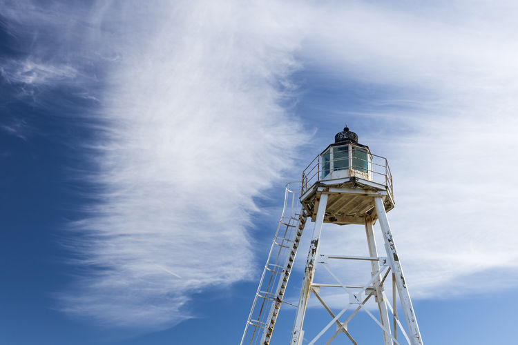 Lighthouse_captures Lighthouse Summertime Watch Tower Architecture Beachside Blue And White Built Structure Cloud - Sky Day Low Angle View No People Outdoors Peaceful Sky Space For Copy Tranquil Scene Water Tower - Storage Tank