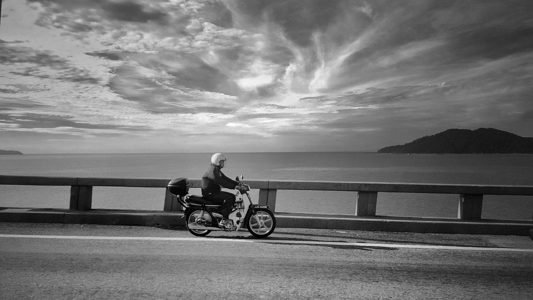 Water Horizon Over Water Sea Road Bicycle Black And White Blackandwhite