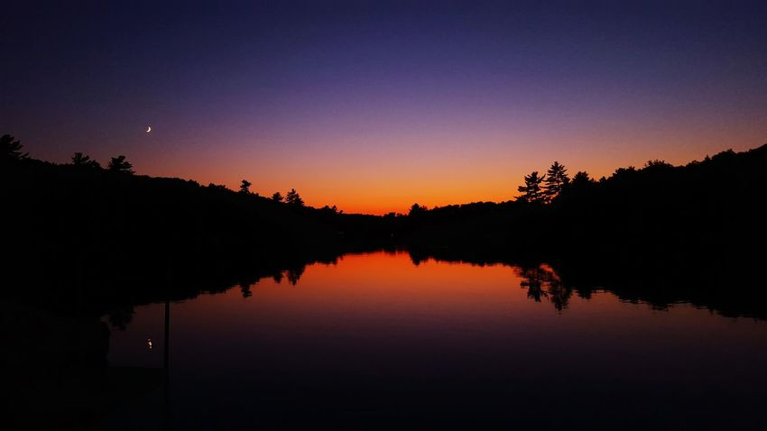 Pond Water Reflections Vibrant Colors Beautiful Sunset Stunning Maine Sunsetreflections Sunsetcolors Tree Silhouette Moonrise