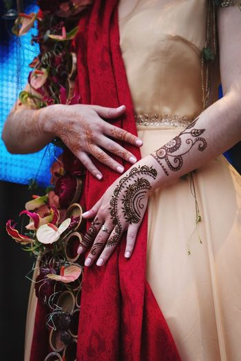 Close-Up Of Woman Wearing Henna Tattoo