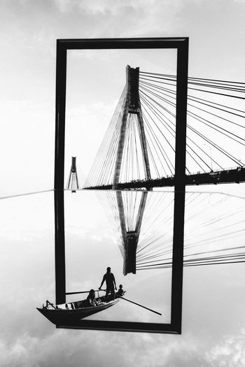 The Barelang Bridge in Frame Architecture Barelang Bridge In Batam Island Built Structure Cloud - Sky Day Friendship Full Length Leisure Activity Lifestyles Men Nature Outdoors People Real People Sitting Sky Togetherness Water Visual Creativity Adventures In The City