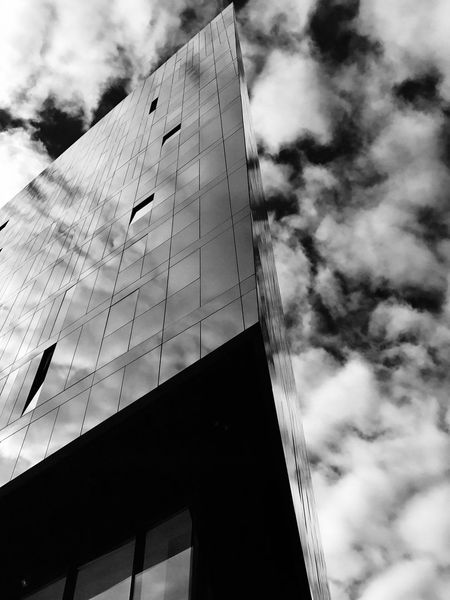 Clouds Reflection In Building Glass Glass Building Window Reflection Building Reflections Reflection Low Angle View Built Structure Building Exterior City Architecture City Creativity #urbanana: The Urban Playground