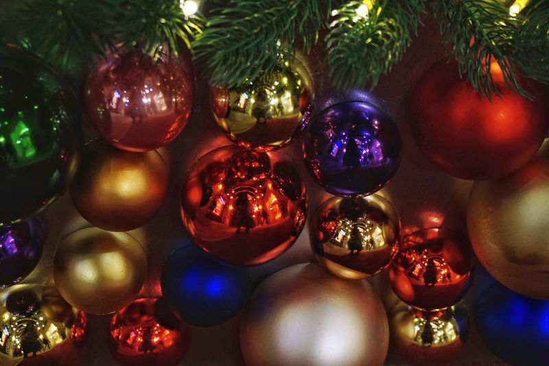 Christmas Tradition Christmas Tree Christmas Decoration Celebration Christmas Ornament No People Indoors  Close-up Illuminated Christmas Lights Multi Colored Tree Christmas Bauble Day Colors Colorful Color Palette Color Portrait Color Balls