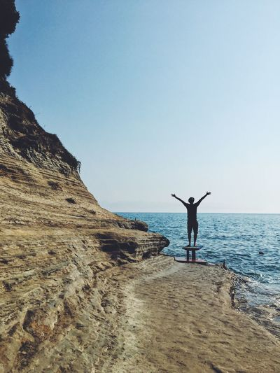 Done That. Beach Man Horizon Over Water Water One Person Outdoors Standing Vacations Sea Lifestyles Leisure Activity Greece Corfu Second Acts Be. Ready. Summer Exploratorium