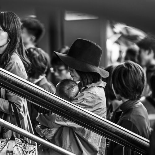 """""""Praying For My Baby"""" Baby Black & White Black And White Blackandwhite Japan Mother People Real People Taking Photos Temple The Street Photographer - 2017 EyeEm Awards This Is Family The Art Of Street Photography My Best Photo"""