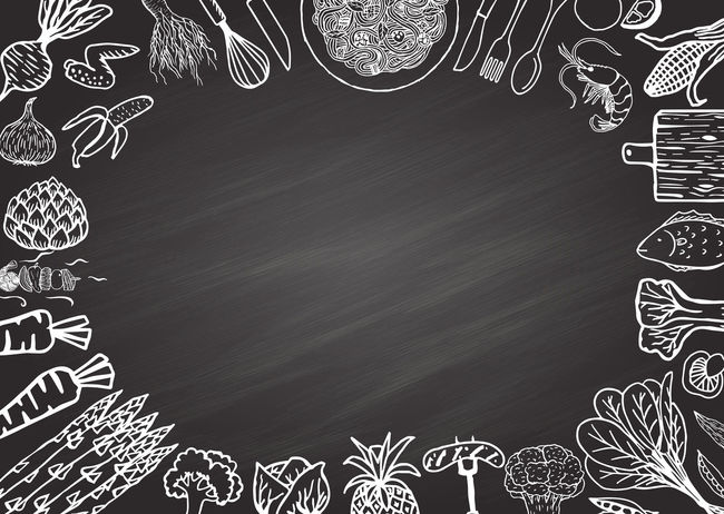Hand drawing food ingredients on chalkboard background with copy space in the middle for your texts. Cooking Dish Food And Drink Ingredients Abstract Backgrounds Banner Blackboard  Chalkboard Chalkboard Wall Decoration Food Kitchen Spagetti Vegetable