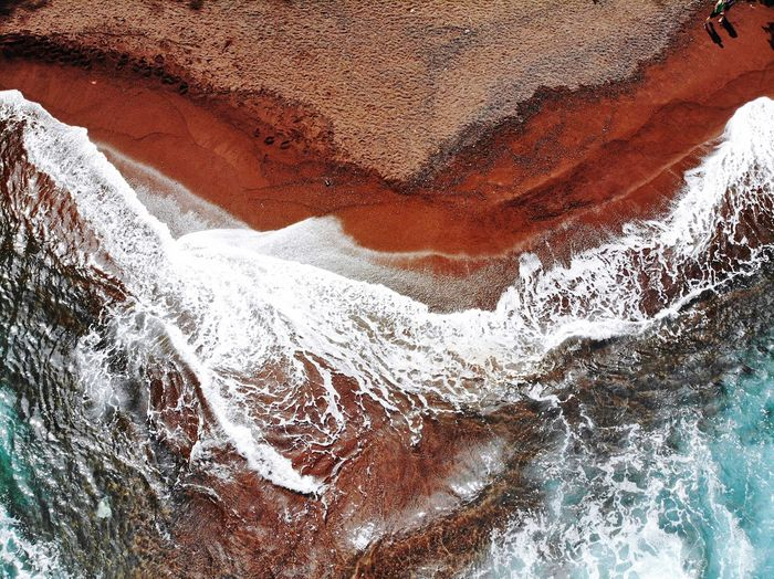 Red Sand Beach Hawaii Redsand Beach Full Frame Close-up No People Pattern Day Backgrounds Water High Angle View Nature Outdoors