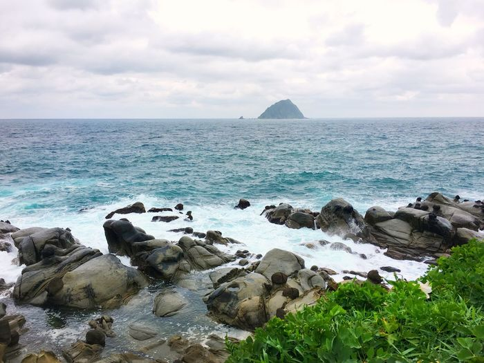 Taiwan Keelung Peace Island Water Sea Sky Rock Beauty In Nature Scenics - Nature Solid Horizon Over Water Rock - Object Horizon Tranquility Nature Tranquil Scene Cloud - Sky Day Land Beach No People Idyllic Stack Rock