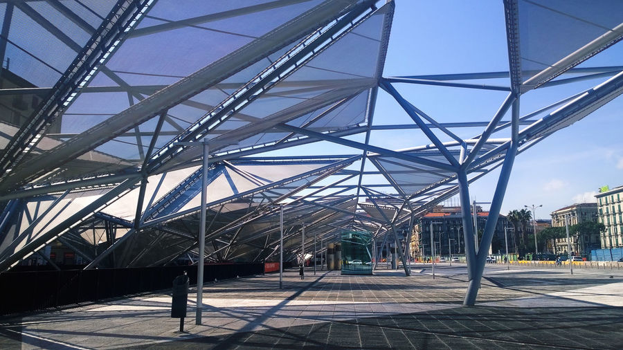 Naples Piazza Garibaldi station. Architecture Architecture Bridge - Man Made Structure Building Exterior Built Structure City City Connection Diminishing Perspective Eye4photography  EyeEm Gallery Eyemitalia Low Angle View Metal Modern Modern Architecture Outdoors Power Line  Shadow Sky Sunlight The Way Forward Transportation Urban Geometry Urban Landscape
