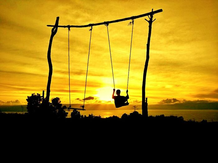 Sunset Weekend Outdoors Day Indonesia_photography INDONESIA Sumaterautara Sumatera Simarjarunjung Silhouette Tree Beauty In Nature Nature Sky No People Playground Scenics Swing Overhead Cable Car