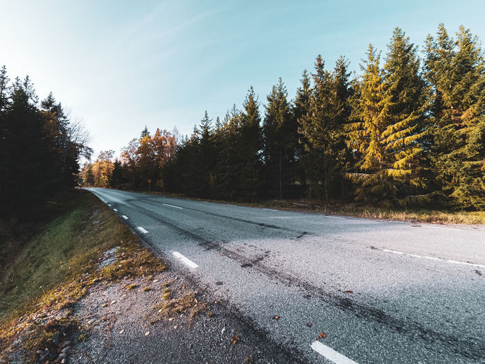 Wide angle view of a rural country road near stockholm, sweden