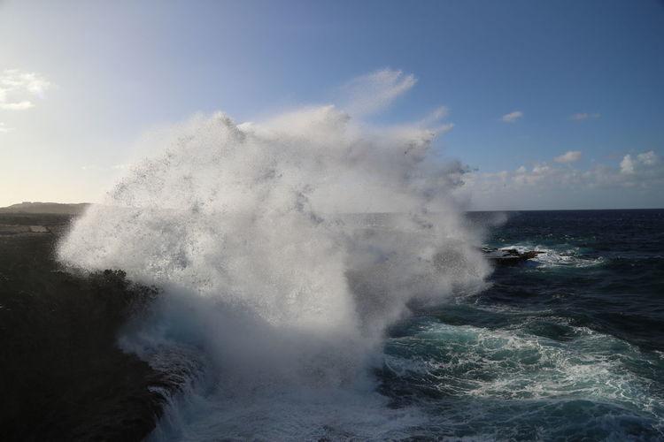Beauty In Nature Boka Tabla Crash Curacao Day Force Horizon Over Water Motion Nature No People Outdoors Power In Nature Sea Shete Boka Sky Splashing Water Wave