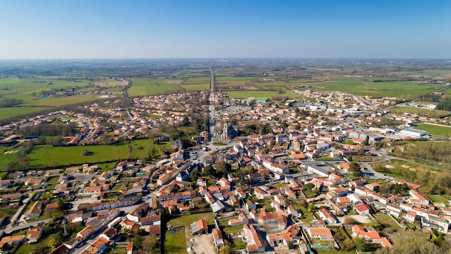 Aerial view of Les Lucs sur Boulogne village in Vendée, France Les Lucs Sur Boulogne Vendée France French Village City Town Architecture Church Cityscape Residential District Environment Aerial View Aerial Photography Landscape Building Day Field Rural Scene Panorama Tourism