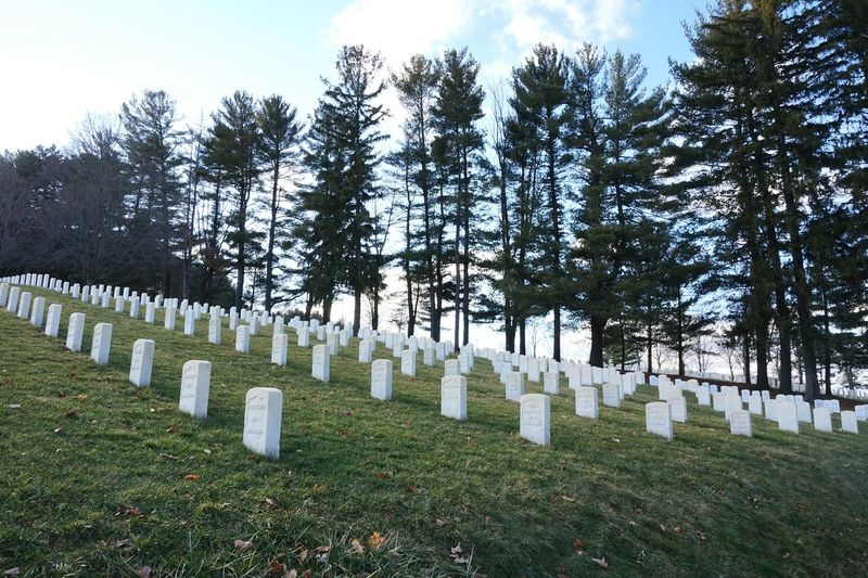 Memorial No People Tombstone Large Group Of Objects Outdoors War Memorial In A Row Headstones In A Row National Cemetery White Marble Geometric Abstraction Symmetry Treeline Silhouette Green Grass Solemnity Diagonal Lines Long Goodbye The Secret Spaces Neighborhood Map Been There.