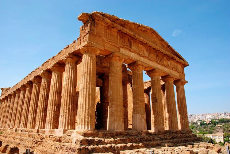 Sicily Sicilia Valley Of Temples Italy Italian Buildings Historic History The Past Architecture Sky Ancient Architectural Column Built Structure Ancient Civilization Travel Destinations Old Ruin Day Sunlight Ruined Low Angle View Archaeology Travel