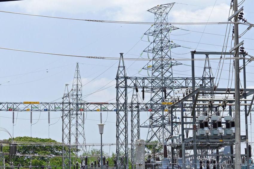 High-Voltage Power Station Power Station Thai Background Cable Electrical Equipment Electrical Grid Energy Fuel And Power Generation High-voltage Low Angle View No People Outdoors Power Line  Technology Tower