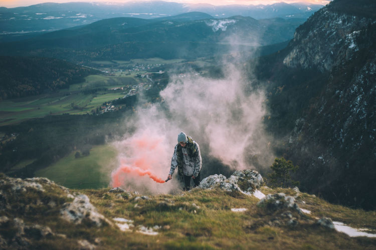 High angle view of person on mountain landscape