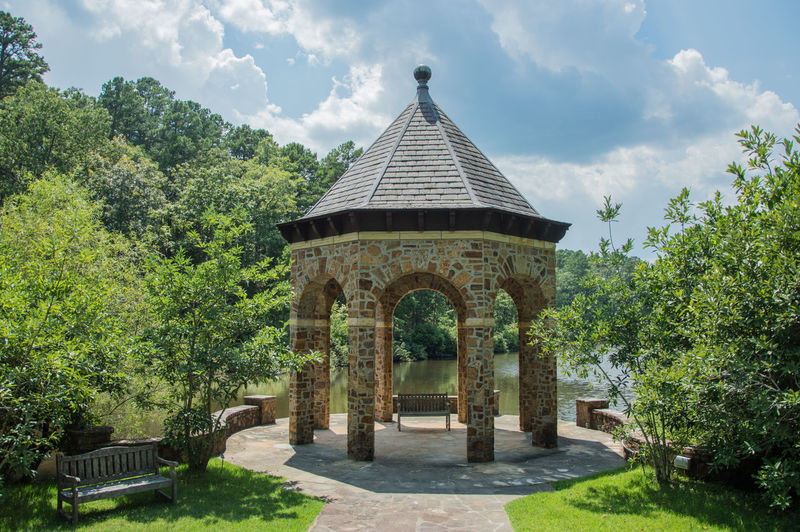 Architecture Bench Cloud Gazebo Gazebo At The Park Peaceful View Summer Views Arch Architecture Cloud - Sky Day No People Outdoors Relax Sky Stone Stone Architecture Stone Material Summer Tranquil Scene