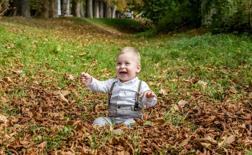 Little boy smiling in nature