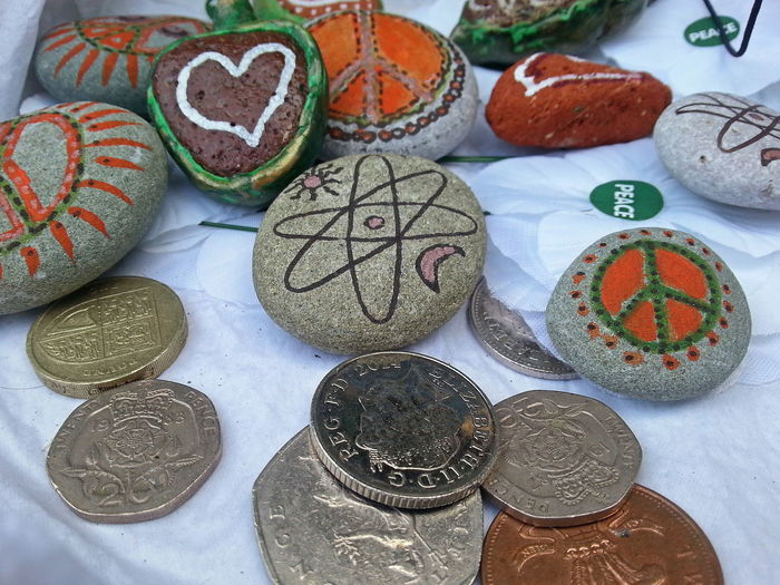 """The """"value"""" box from my shop: for any donation people can have a small item symbolising their favourite Values ... Money Money Money Money Around The World Peace Love"""