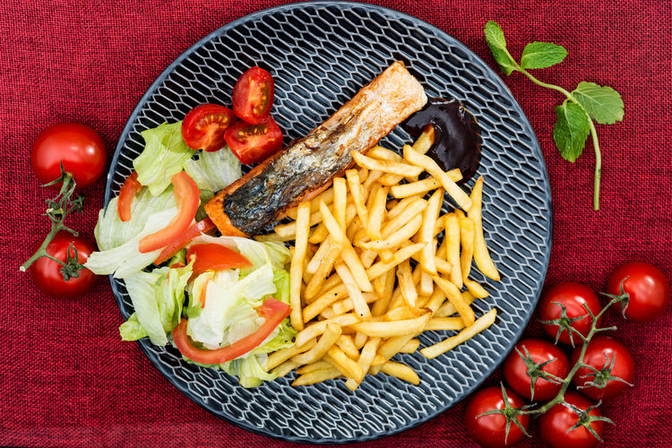 Food And Drink Close-up Delicious Dinner Directly Above Fast Food Food Food And Drink French Fries Freshness Fried Fruit Healthy Eating Indoors  Meal Meat No People Plate Potato Prepared Potato Ready-to-eat Red Snack Tomato Vegetable