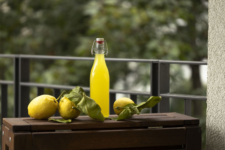 Close-up of yellow fruits on table