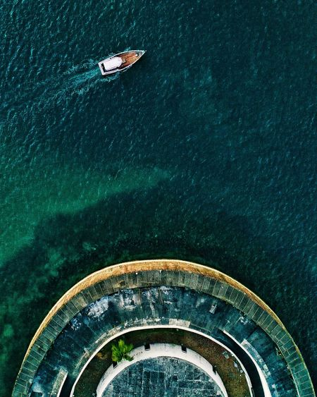 Aerial view of sailboat in sea