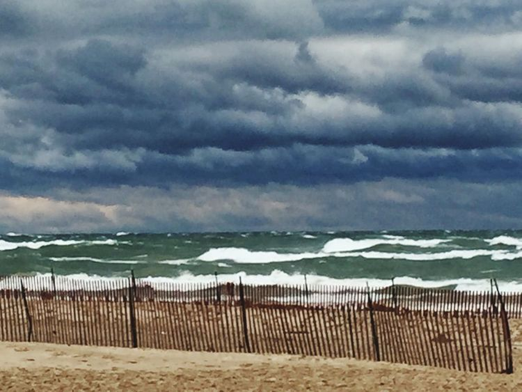 The November storm 🌧 Dark Clouds Storm Stormy Weather Lake View Lake Michigan Windy Blowing Sand Waves Taking Photos The Places I've Been Today Michigan Pure Michigan