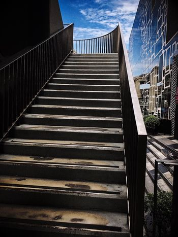Architecture Built Structure Staircase Railing Steps And Staircases The Way Forward No People Wall Sky Shadow Day Direction Nature Sunlight Low Angle View Building Exterior Outdoors Pattern City Safety