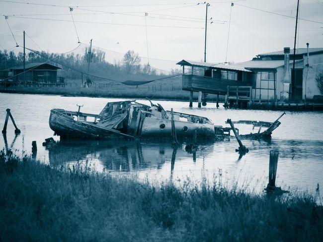 Baiona Blues Cyan Cyanotype Monochrome Monoi Nature Nautical Vessel No People Outdoors Water Wreck Marshes Marshland  Marsh