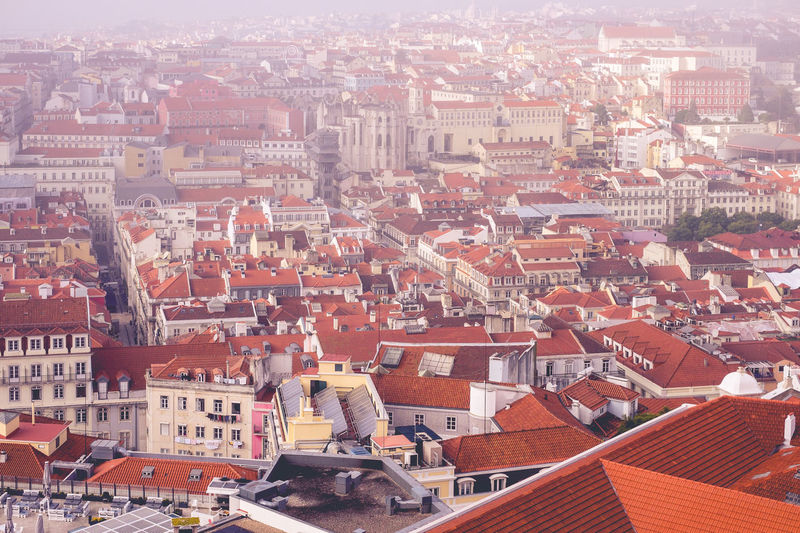 The red roof tiles of Lisbon Architecture Built Structure Travel Destinations Lisbon Portugal Europe Building Exterior Roof City Building Crowd Residential District Cityscape Crowded High Angle View Community House Day Nature Town TOWNSCAPE Roof Tile Outdoors Settlement