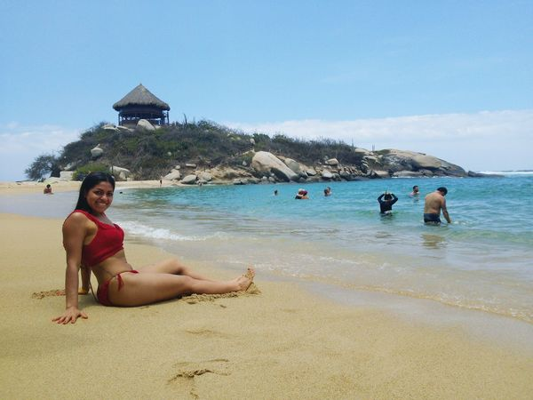Water Swimming Sea Full Length Young Women Beach Sand Shirtless Relaxation Bikini