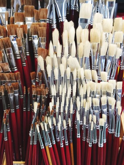 paintbrushes Concept Arts And Crafts Paintbrush Large Group Of Objects Abundance Choice For Sale Arrangement No People Variation In A Row Retail  Still Life Market Side By Side Full Frame Business Collection Backgrounds Retail Display