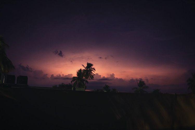 Nightphotography Landscape Lightning Behind Clouds
